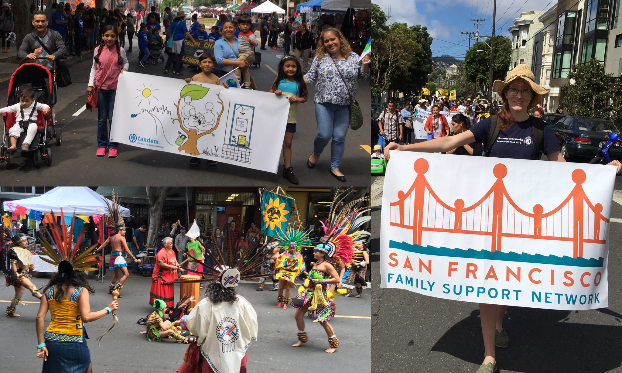 Cesar Chavez Day Parade, April 23, 2016. Top left: Literacy Champion volunteers carry the banner I designed for Tandem through the vibrant Cesar Chavez Day Parade in San Francisco's Mission District. Right: I got to carry the SFFSN banner and represent the San Francisco Family Support Network in the parade.