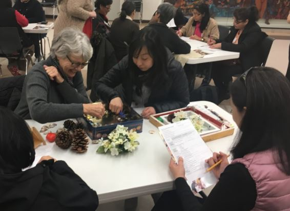 Two educators played with items at the nature themed table, as their tablemates used a checklist tool to record observations of the cognitive, social-emotional, & physical skills and behaviors they displayed.